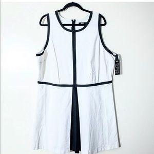 BB Dakota 20W Fit & Flare White Linen Sleeveless